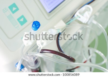 Detail of a complex medical device. Photo.