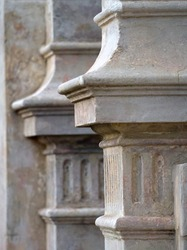 detail of a concrete pillar from a terrace house in melbourne with selective focus