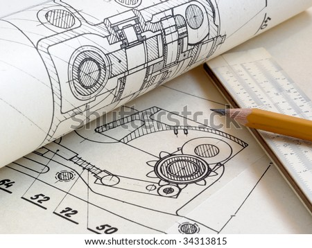 Detail of a drawing, and drawing tools - stock photo