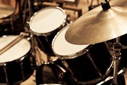 Detail of a drum kit