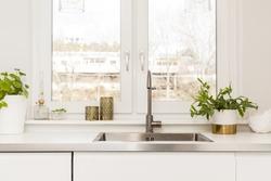detail of a fancy kitchen sink