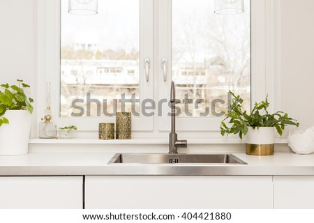 detail of a fancy kitchen sink