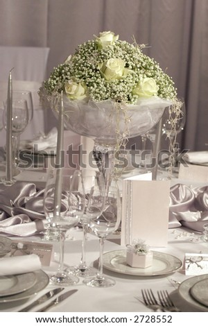 stock photo Detail of a fancy table set for wedding dinner