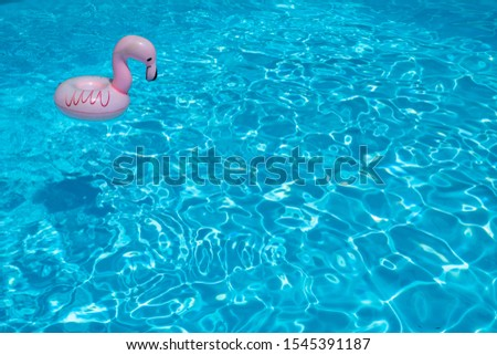 detail of a flamingo-shaped float, which floats freely smile the blue water of a swimming pool #1545391187