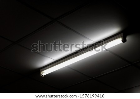 Detail of a fluorescent light tube on a wall. fluorescent light tube with copy space for any design. Electric lamp and energy power concept