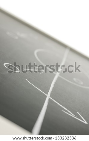 Detail of a football strategy drawn on a board.
