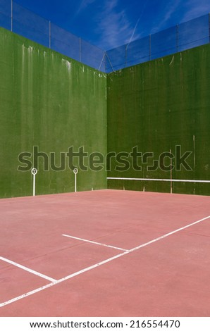 Detail of a fronton court. Pelota vasca. Spanish traditional sport