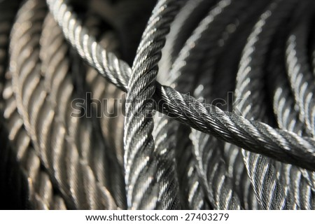 Detail of a galvanized wire rope Foto d'archivio ©