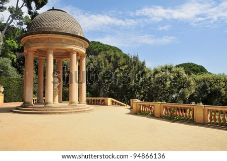 Detail of a gazebo in Parc del Laberint d'Horta in Barcelona, Spain, an eighteenth century public park