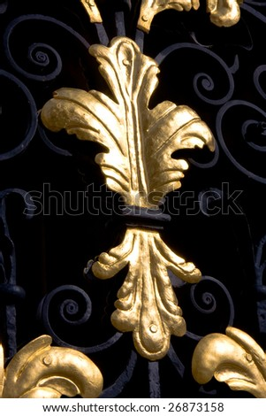 Detail of a gold leaf pattern in a gate of All Souls College, Oxford