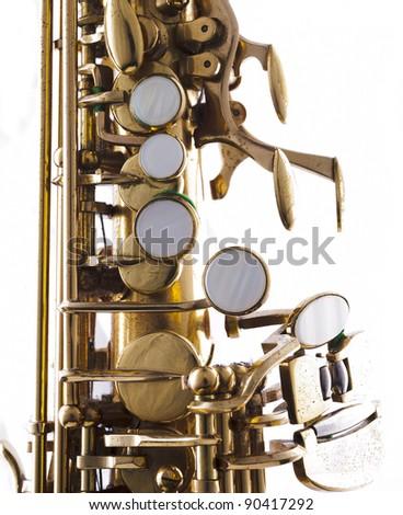 detail of a golden saxophone
