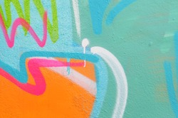 Detail of a graffiti wall. Interesting patterns emerge. Can be useful for backgrounds