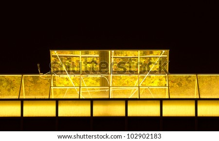 Detail of a greenhouse at night, Holland