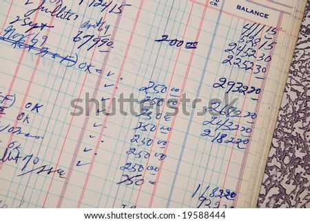 Detail of a handwritten ledger amount in blue color