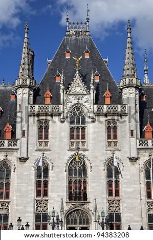 Detail of a historic building in Bruges, Belgium