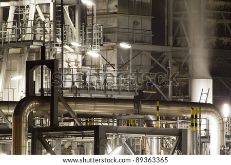 Detail of a large oil-refinery plant situated in the Botlek, Rotterdam, The Netherlands