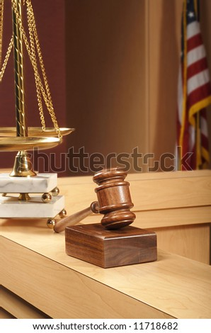 Detail of a legal themed still life in an American courtroom