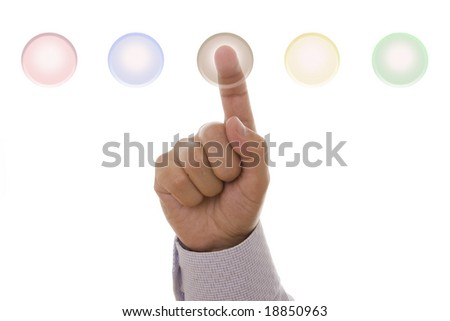 Detail of a male hand pressing a hi-tech button - stock photo