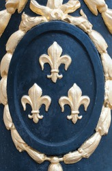 Detail of a medallion with fleur de Lys