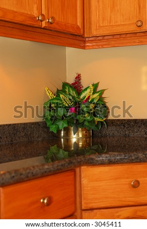 Detail of a modern kitchen interior with granite counter top oak cabinets