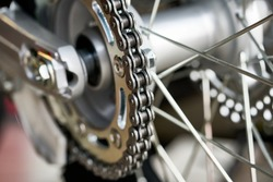 Detail of a motorcycle rear chain.
