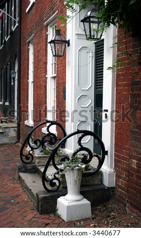 Detail of a neighborhood in historic old town Alexandria