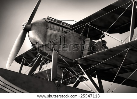 Detail of a old biplane from the nineteen-twenties in sepia tone