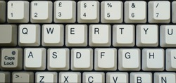 detail of a old keyboard, vintage 90 ', qwerty, without background