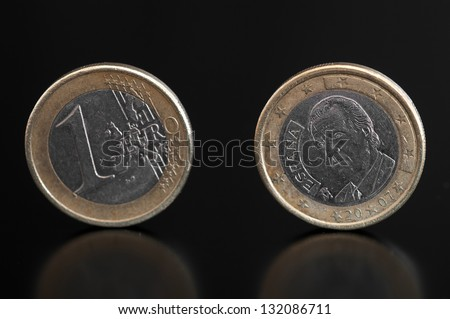 Detail of a one euro coin