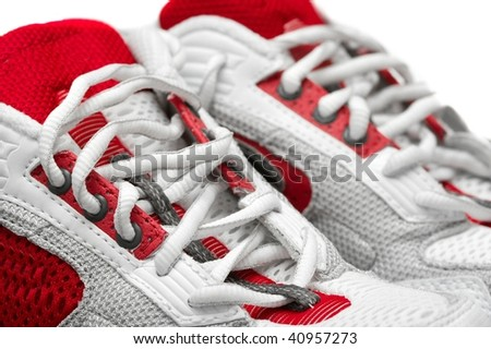 detail of a pair of training shoes - stock photo