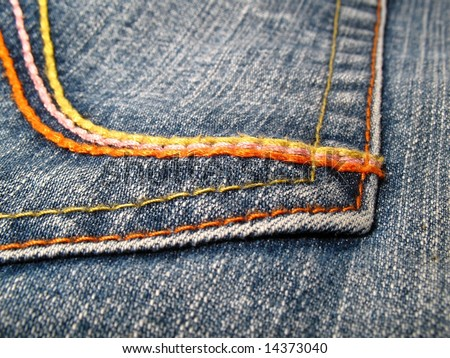 Detail of a pocket in a blue jeans - stock photo