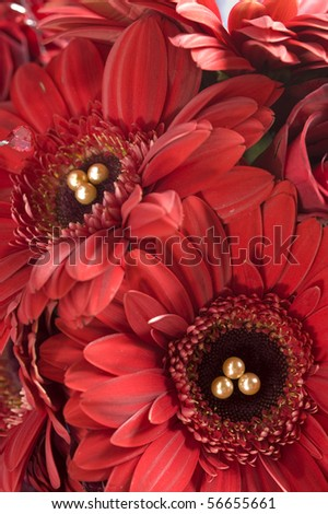 Detail of a red bridal bouquet