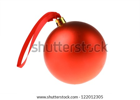 Detail of a red Christmas globe isolated on white - stock photo
