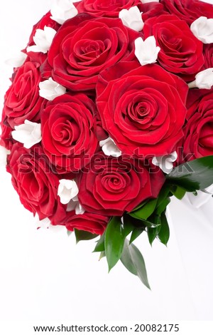 stock photo Detail of a red roses and white flowers wedding bouquet