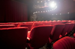 detail of a red seats at the theater