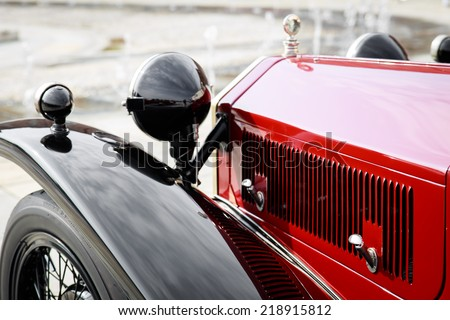 detail of a red vintage car