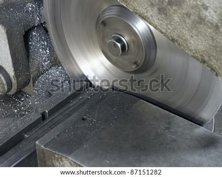 detail of a rotating circular saw