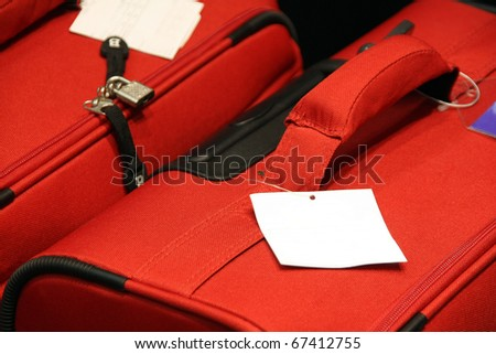 Detail of a suitcase with a blank tag