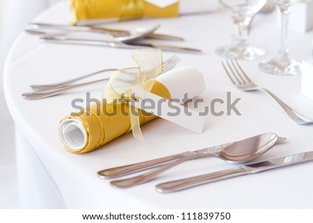 detail of a table set for an event party or wedding reception