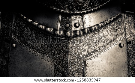 Detail Of A The Breastplate On A Medieval Suit Of Knight's Armour