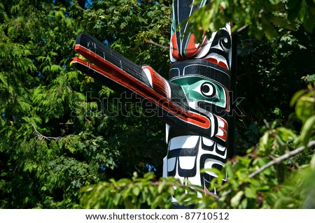 Detail of a totem pole located in Victoria, British Columbia.