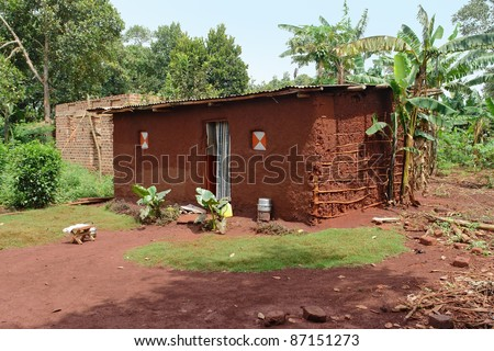 detail of a traditional small village near Bujagali Waterfalls in Uganda (Africa)