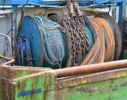 Detail of a trawler Mallaig Scotland