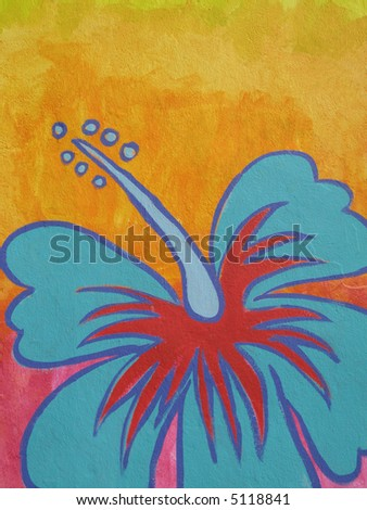 Detail of a urban graffiti with a colorful flower