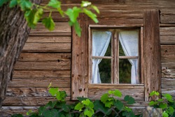 Detail of a very beautiful wooden carpentry window with simple and elegant white curtains on a wooden rural house surrounded by vines located in the countryside.
