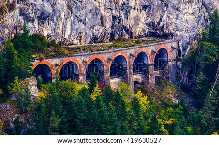 detail of a viaduct of the semmeringbahn unesco world heritage railroad in austria