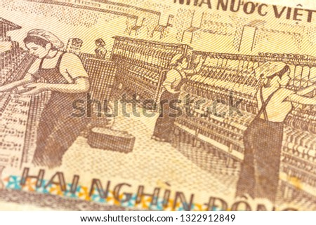 detail of a 2000 vietnamese dong bank note reverse #1322912849
