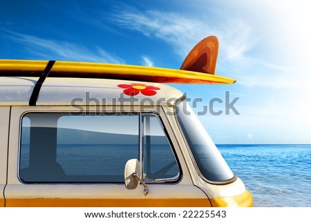Detail of a vintage van in the beach, with a surfboard on the roof - stock photo