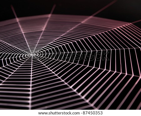 detail  of a white painted spiderweb in dark back, red illuminated