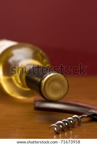 Detail of a white wine bottle with a corkscrew - Focus on the screw